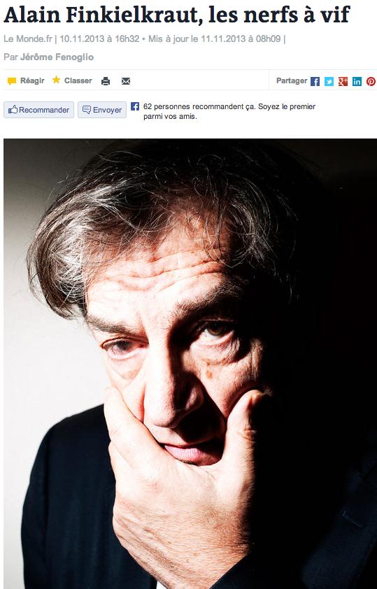 Alain Finkielkraut, les nerfs à vif